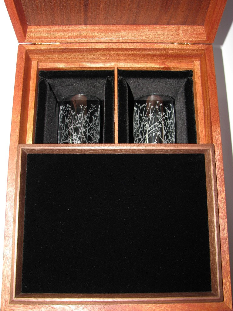 Love Letter Ceremony Toasting Glass Box with Tray to Hold the Love Letters. For Weddings and Anniversaries.