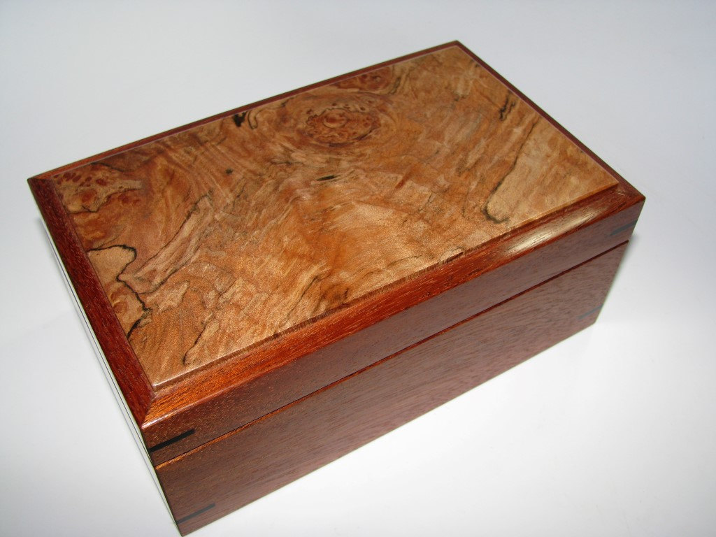 Small Keepsake Box With Spalted and Figured Maple Top. Lined in Leather. 7.75' x 4.75' x 3.25'